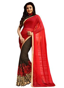 Brown N Red Kajal Aggarwal Half N Half Saree