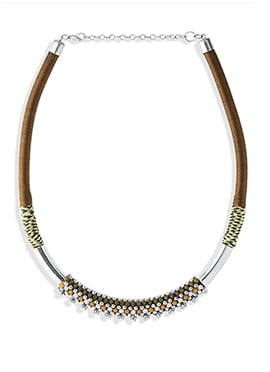 Brown N Silver Beads Necklace
