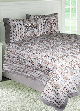 Brown N White Cotton Bed Sheet