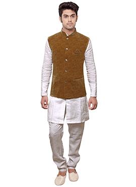 Brown N White Linen Bandi Set