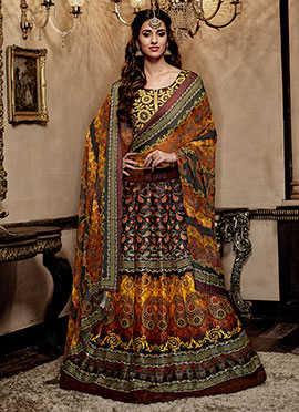 Brown N Yellow Art Silk A Line Lehenga Choli