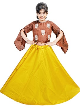 Brown N Yellow Art Silk Kids A Line Lehenga