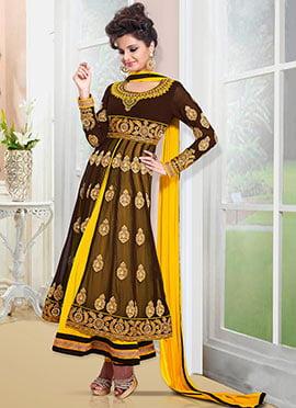 Brown N Yellow Floor Length Anarkali Suit