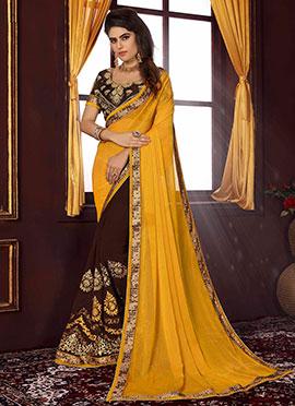 Brown N Yellow Half N Half Saree