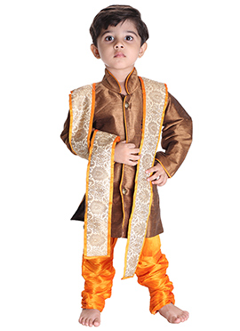 Brown N Yellow Silk Cotton Kids Sherwani