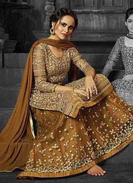 Brown Net A Line Lehenga