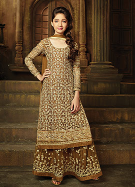 Brown Net Kids A Line Lehenga