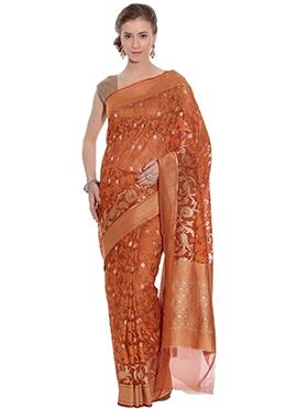Brown Net Saree