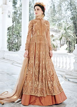 Brown Net Umbrella Lehenga