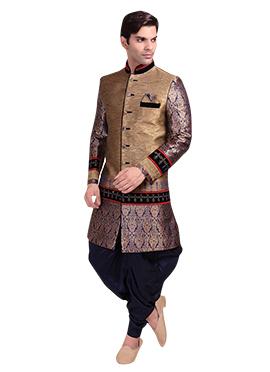 Brown Patiala Style Sherwani