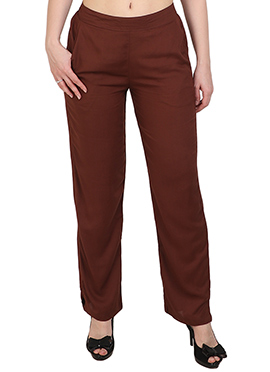 Brown Plain Straight Pant
