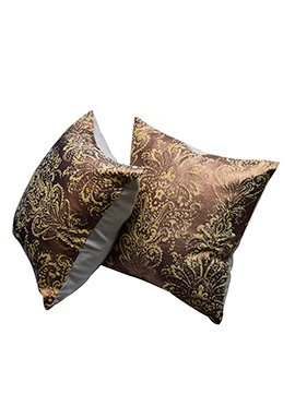 Brown Polyester Cushion Cover