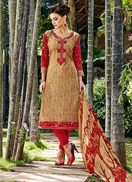 Brown Printed Churidar Suit