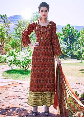 Brown Printed Palazzo Suit