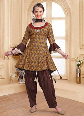 Brown Printed Salwar Suit