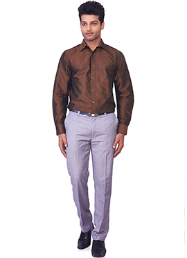 Brown Pure Silk Classic Shirt
