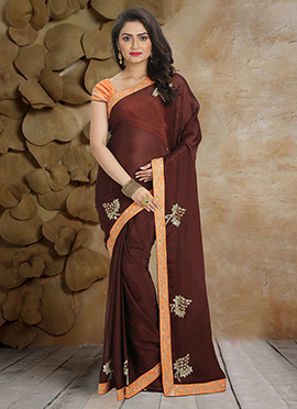 Brown Pure Crepe Saree