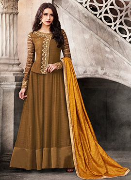 Brown Satin Abaya Style Anarkali Suit