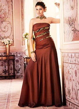 Brown Satin Anarkali Gown