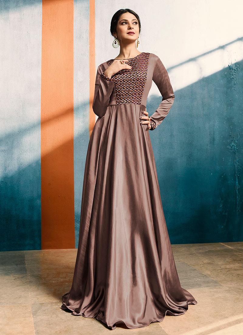 Buy Jennifer Winget Brown Embroidered Anarkali Gown ...
