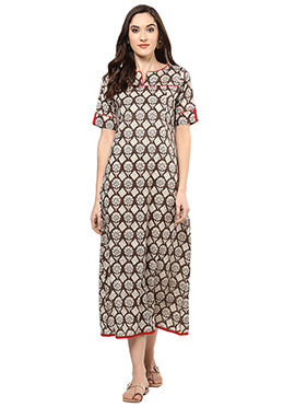 Brown Shade Blended Cotton Kurti