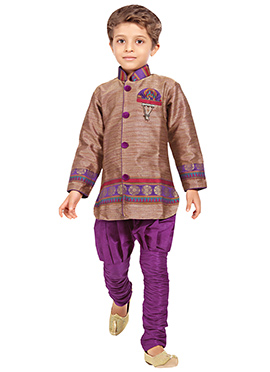 Brown Shade Breeches Style Sherwani