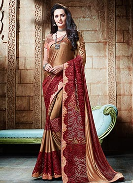 Brown Shimmer Georgette Saree