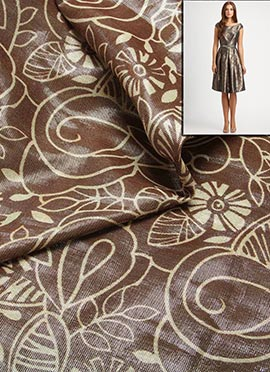 Brown Shimmer Rayon With Floral Weave Dress Materi