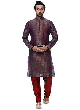 Brown Silk Kurta Pyjama