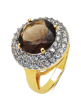 Brown Smoky Topaz N Gold Plated Ring
