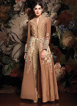 Brown Taffeta Silk Anarkali Suit