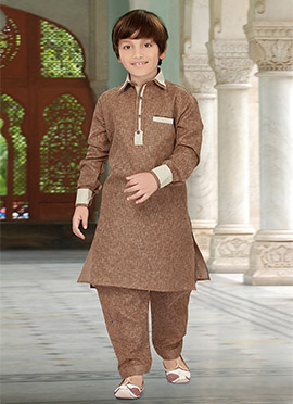 Brown Teens Art Silk Cotton Pathani Set