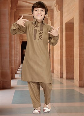 Brown Teens Art Silk Cotton Teens Pathani Set