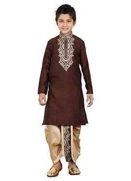 Brown Teens Dhoti Kurta