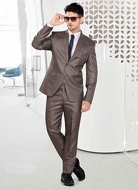 Brown Terry Rayon Lapel Style Suit