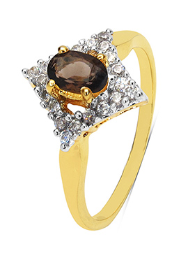 Brown Topaz N Gold Plated Ring