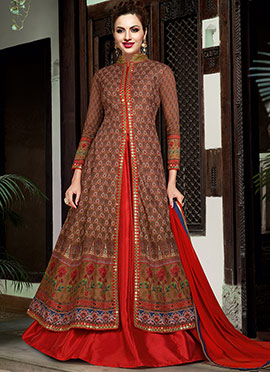 Brown Tussar Silk Anarkali Lehenga