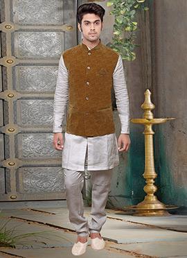 Brown Velvet Nehru Jacket