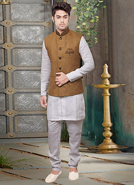 Brown Velvet Nehru Jacket