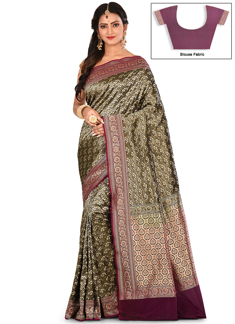 a3fd76ca0e Buy Brown Zari Pure Silk Saree, Zari, sari Online Shopping ...