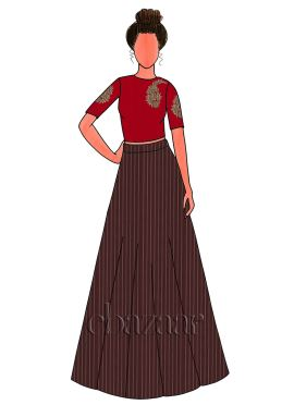 Brown Zari Work Satin Embroidered Skirt Set