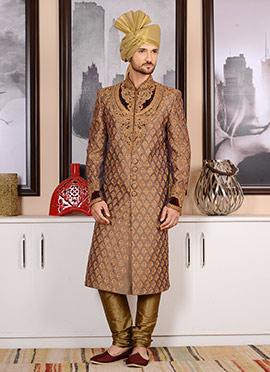 Brown Benarasi Silk Chipkan Sherwani