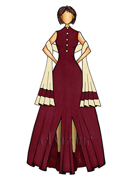 Burgundy and Gold Anarkali Suit
