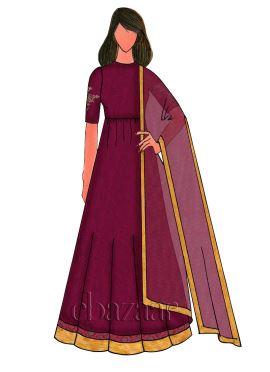 Burgundy Art Raw Silk Embroidered Anarkali Suit