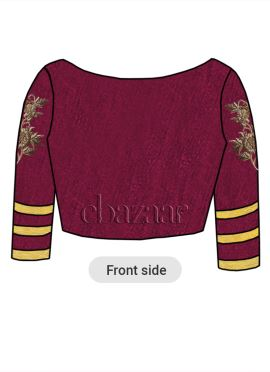 Burgundy Art Raw Silk Embroidered Blouse