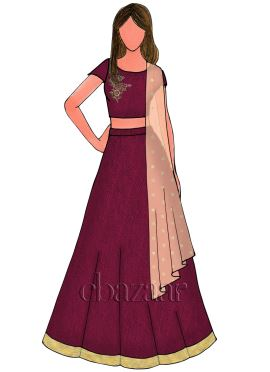 Burgundy Art Raw Silk Lehenga Set