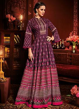 Burgundy Art Silk Abaya Style Anarkali Suit