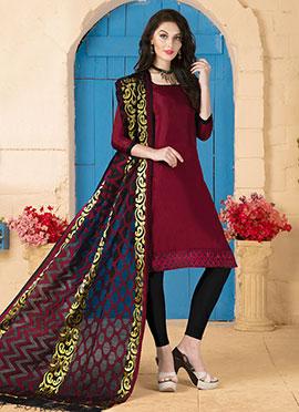 Burgundy Art Silk Churidar Suit