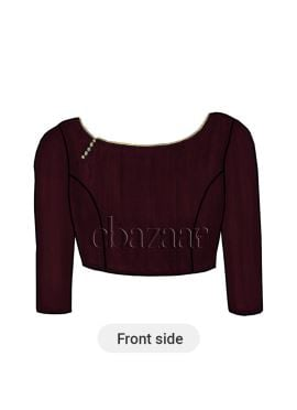 Burgundy Art Raw Silk Boat Neck Blouse