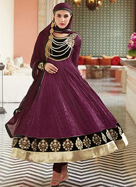 Burgundy Brasso N Net Anarkali Suit
